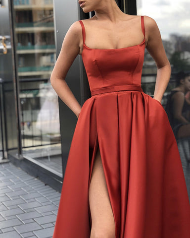 Image of Long Satin Leg Slit Evening Dresses Spaghetti Straps Prom Gowns