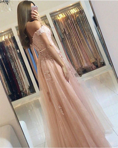 Image of Lace Appliques Off Shoulder Tulle Bridesmaid Dresses Long