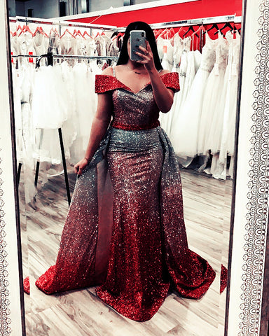 Image of Ombre Sequins V-neck Off Shoulder Mermaid Evening Dresses