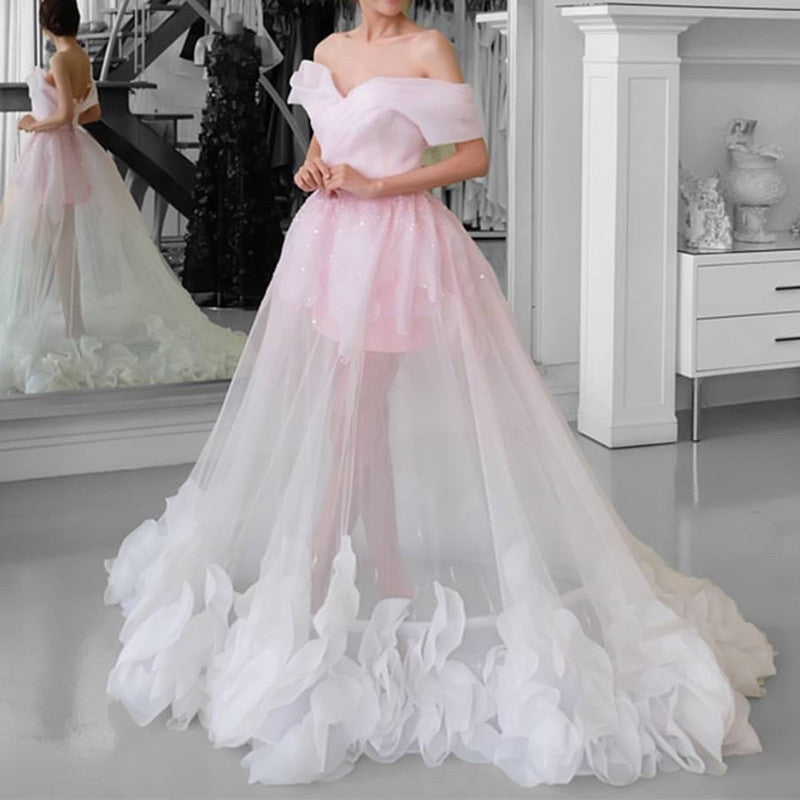 Pink Tulle See Through Prom Dresses Off Shoulder
