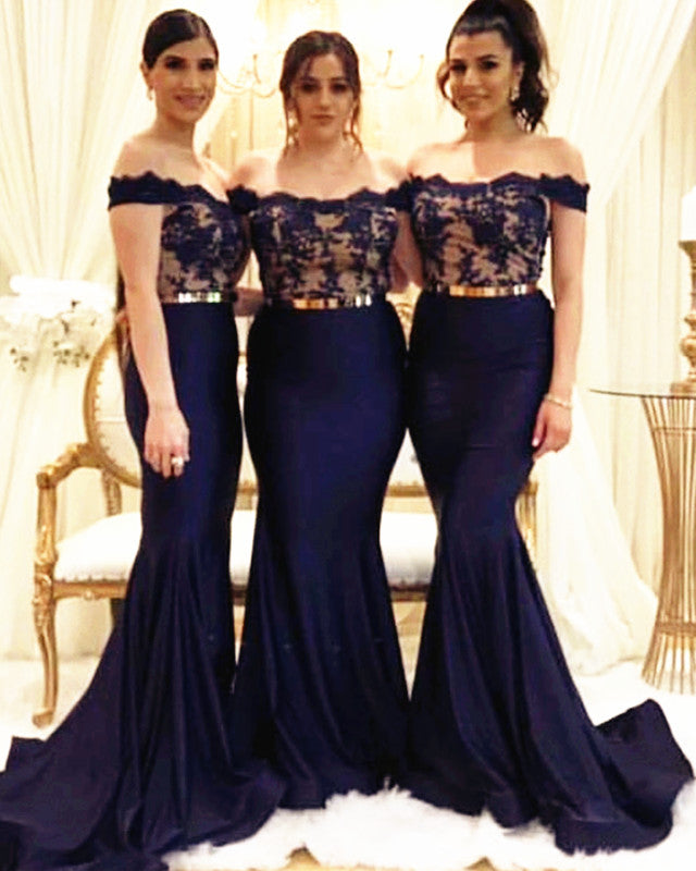 b979b335c75 Navy-Blue-Bridesmaid-Dresses-Elegant-Lace-Appliques. Double tap to zoom