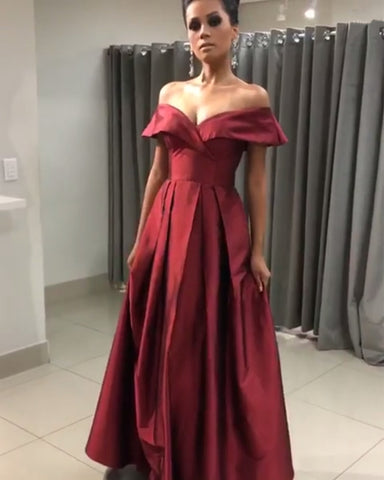 Image of Sexy Off The Shoulder Long Satin Prom Dresses V-neck Evening Gowns With Slit