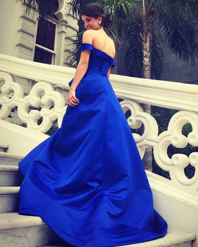a36ddf9c26 Double tap to zoom · Prom-Long-Dresses-2018. Double tap to zoom · Royal  Blue Long Satin V-neck Evening Gowns Off Shoulder Prom Dresses With Flowers