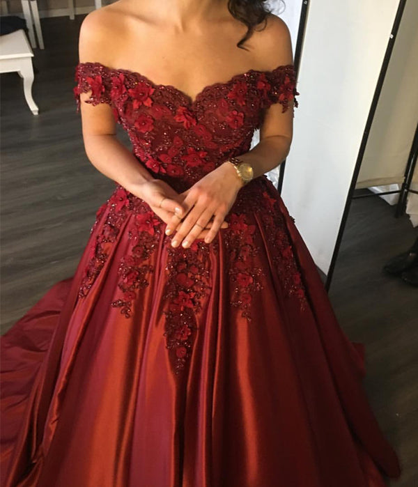 Elegant Flower And Lace Appliques V Neck Satin Prom Dresses