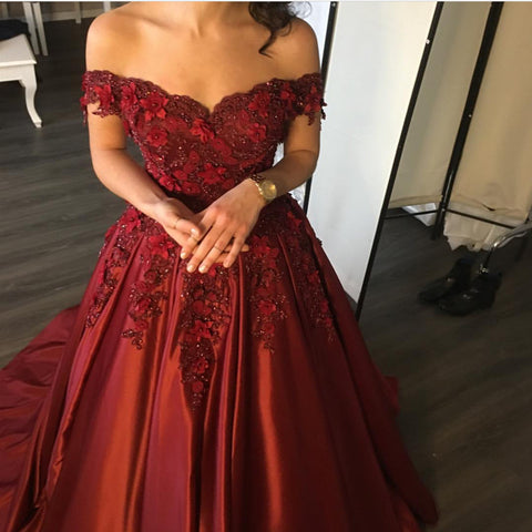 Image of Elegant Flower And Lace Appliques V Neck Satin Prom Dresses
