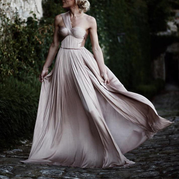 One Shoulder Pleated Chiffon Champagne Bridesmaid Dresses