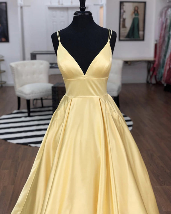 Sexy Straps V-neck Satin Long Prom Dresses 2019 With Pocket