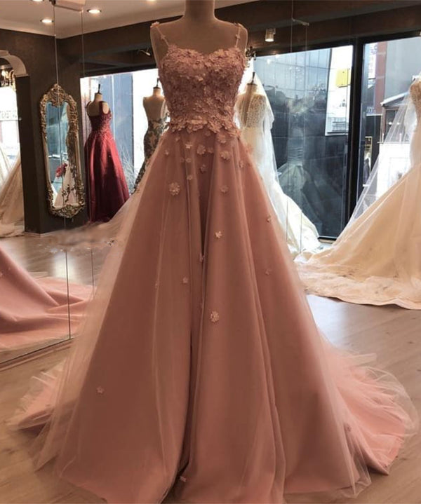 Stylish Flowers Sweetheart Tulle Prom Long Dresses