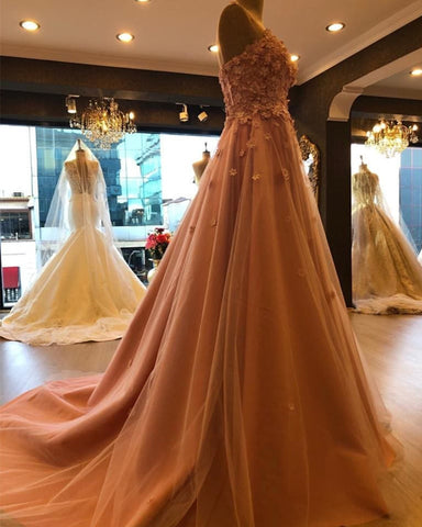 Image of Stylish Flowers Sweetheart Tulle Prom Long Dresses