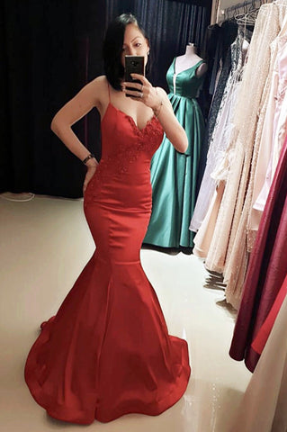 Image of Spaghetti Straps V-neck Satin Mermaid Prom Dress Lace Appliques