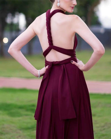 Image of Sexy Backless Floor Length Chiffon Halter Bridesmaid Dresses