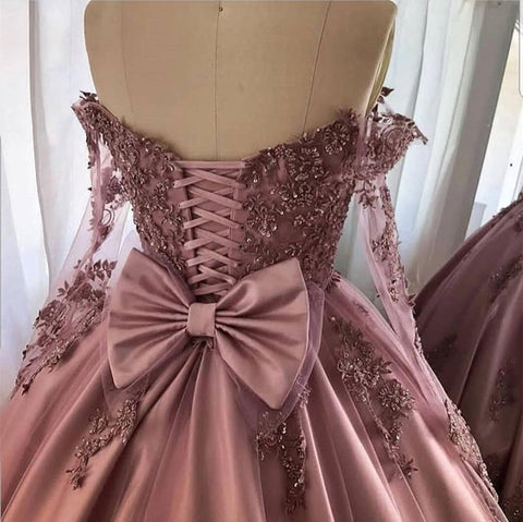 Image of Amazing Lace Embroidery Long Sleeves Prom Dresses Off Shoulder