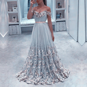 Elegant Lace Embroidery Sweetheart Tulle Formal Evening Dresses