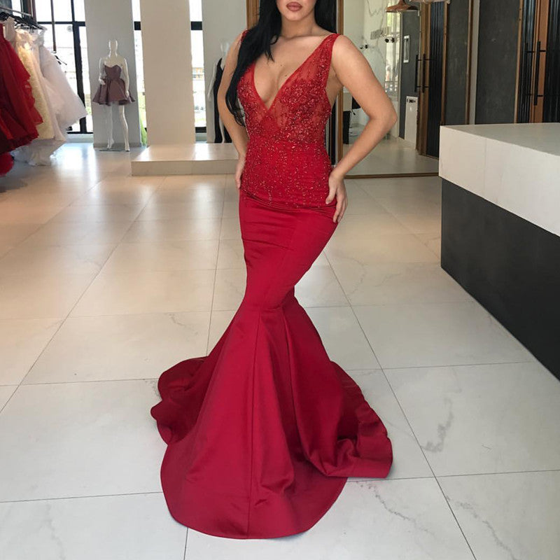 Deep V Neck Long Satin Mermaid Prom Dresses Lace Appliques