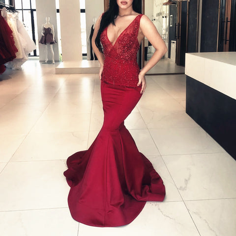 Image of Deep V Neck Long Satin Mermaid Prom Dresses Lace Appliques