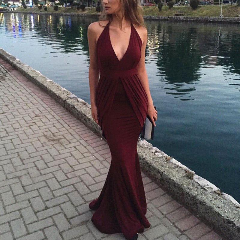 Sexy V Neck Long Chiffon Mermaid Bridesmaid Dresses