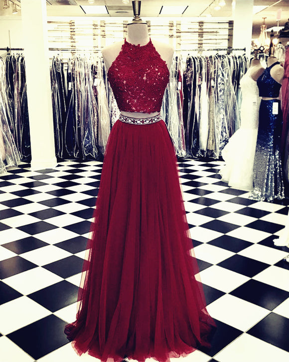 Lace Crop Top Tulle Prom Dresses Two Piece Evening Gowns Beaded Sashes