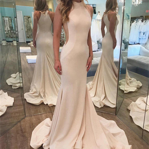 Image of Ivory Sequins Halter Neckline Ruffle Mermaid Evening Gowns