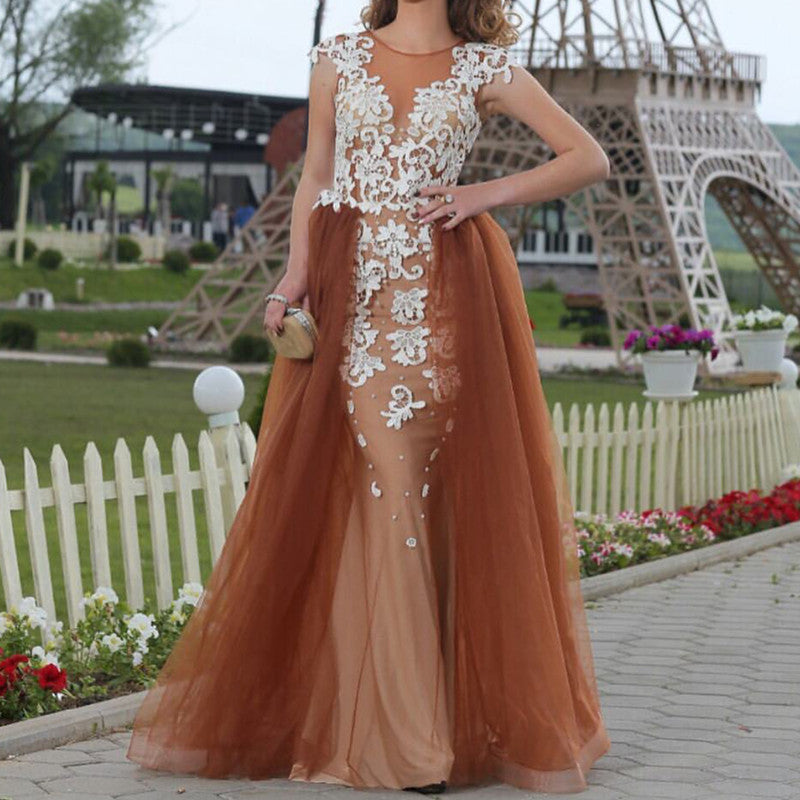 White Lace Appliques Champagne Tulle Mermaid Evening Dresses
