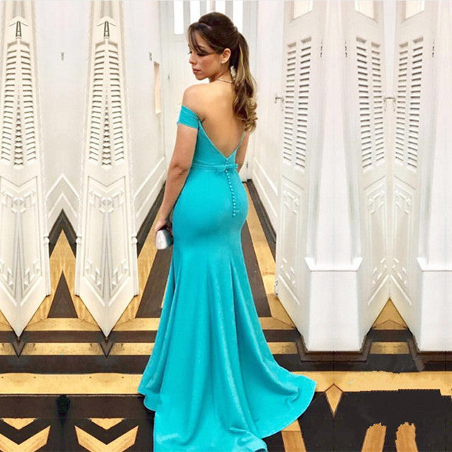 Turquoise Satin Mermaid Backless Evening Gowns Off The Shoulder
