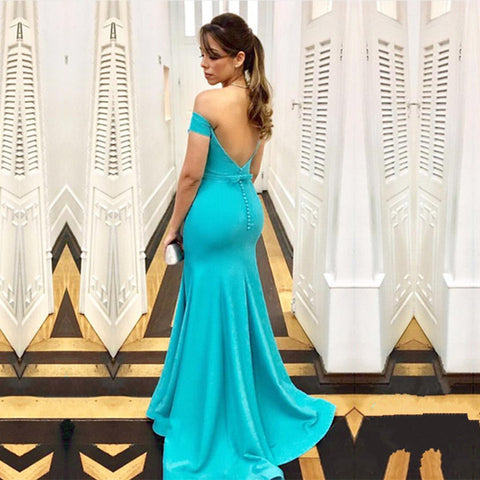 Image of Turquoise Satin Mermaid Backless Evening Gowns Off The Shoulder
