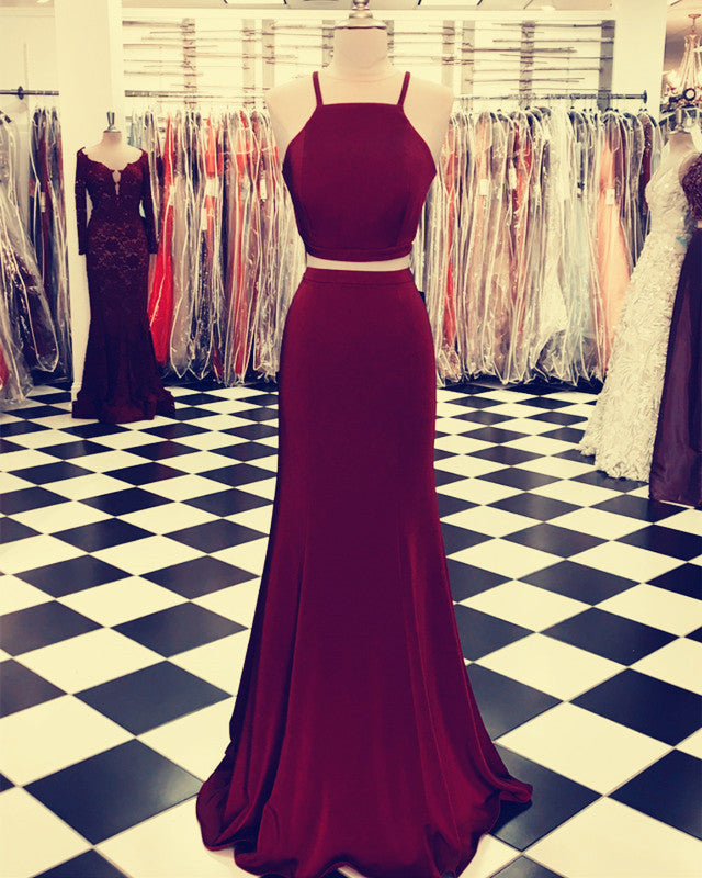 Mermaid Two Piece Prom Dresses Cross Back Evening Gowns Floor Length