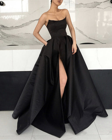 Image of Elegant Black Evening Dress High Slit Prom Gown