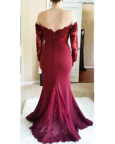 Image of Lace Long Sleeves Mermaid Off Shoulder Bridesmaid Dresses Floor Length