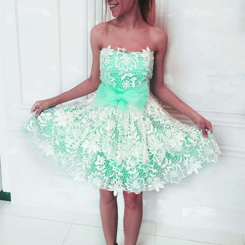 Elegant White Lace Appliques Tulle Cocktail Party Dresses Bow Sashes