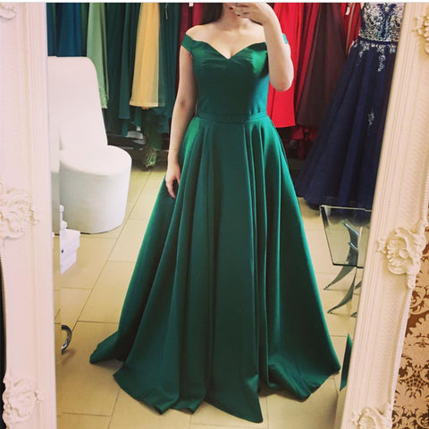 Image of Long Satin V Neck Empire Waistline Prom Dresses 2018 Off The Shoulder