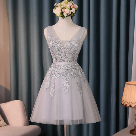 Image of Silver Tulle V Neck Cocktail Party Dresses For Wedding