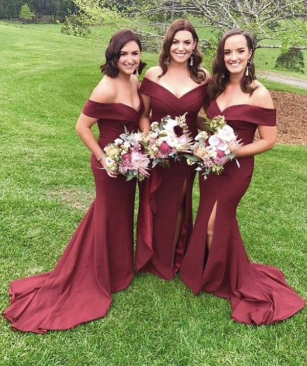 V Neck Off The Shoulder Mermaid Bridesmaid Dresses With Leg Split