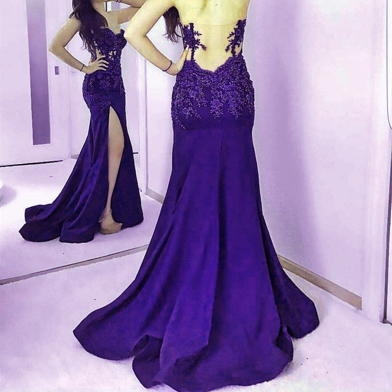 Navy Blue Lace Appliques Sweetheart Mermaid Evening Gowns With Leg Slit