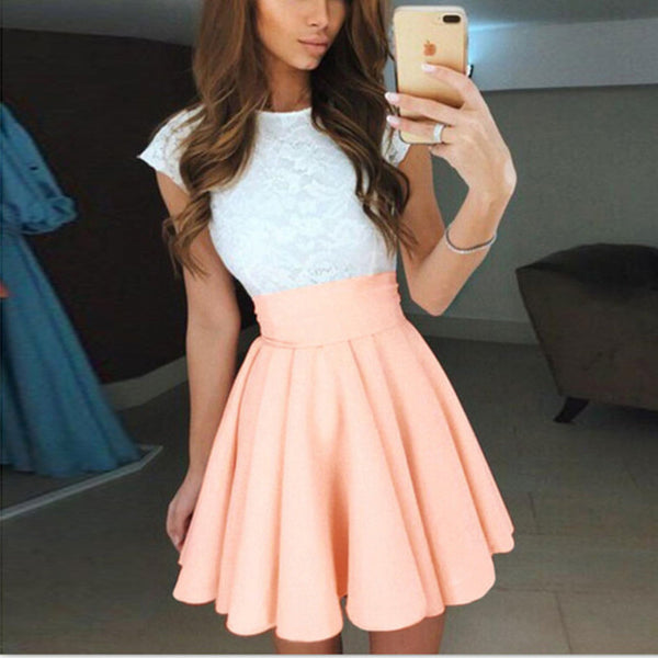 White Lace Cap Sleeves Satin Coral Homecoming Dresses For Prom Party