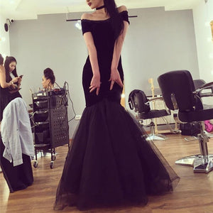 Sexy Off The Shoulder Black Tulle Mermaid Evening Dresses 2018