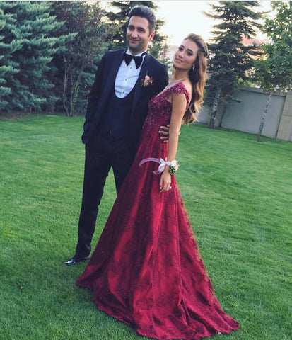 Image of Modest Lace Cap Sleeves Long Burgundy Satin Prom Gowns 2019