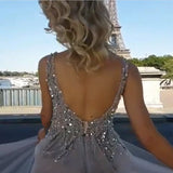 Sequins Beaded V Neck Gray Tulle V Neck Long Evening Gowns