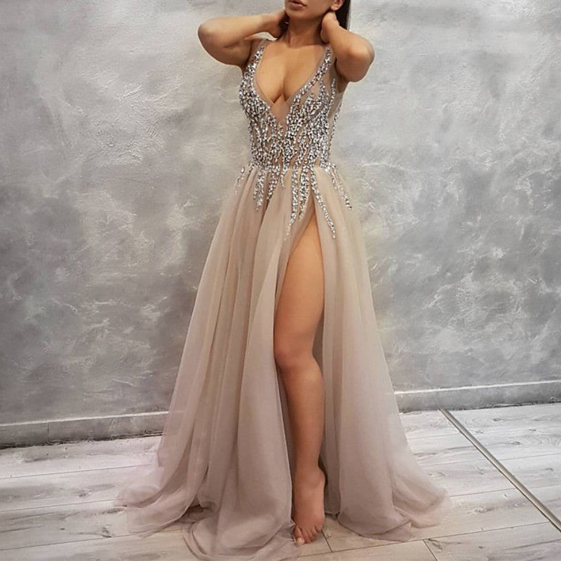 9d49cc4e5e Sexy Deep V Neck Long Tulle Slit Prom Dresses 2018 Beaded Evening Gowns.  Double tap to zoom