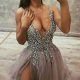 Sexy Deep V Neck Long Tulle Slit Prom Dresses 2018 Beaded Evening Gowns