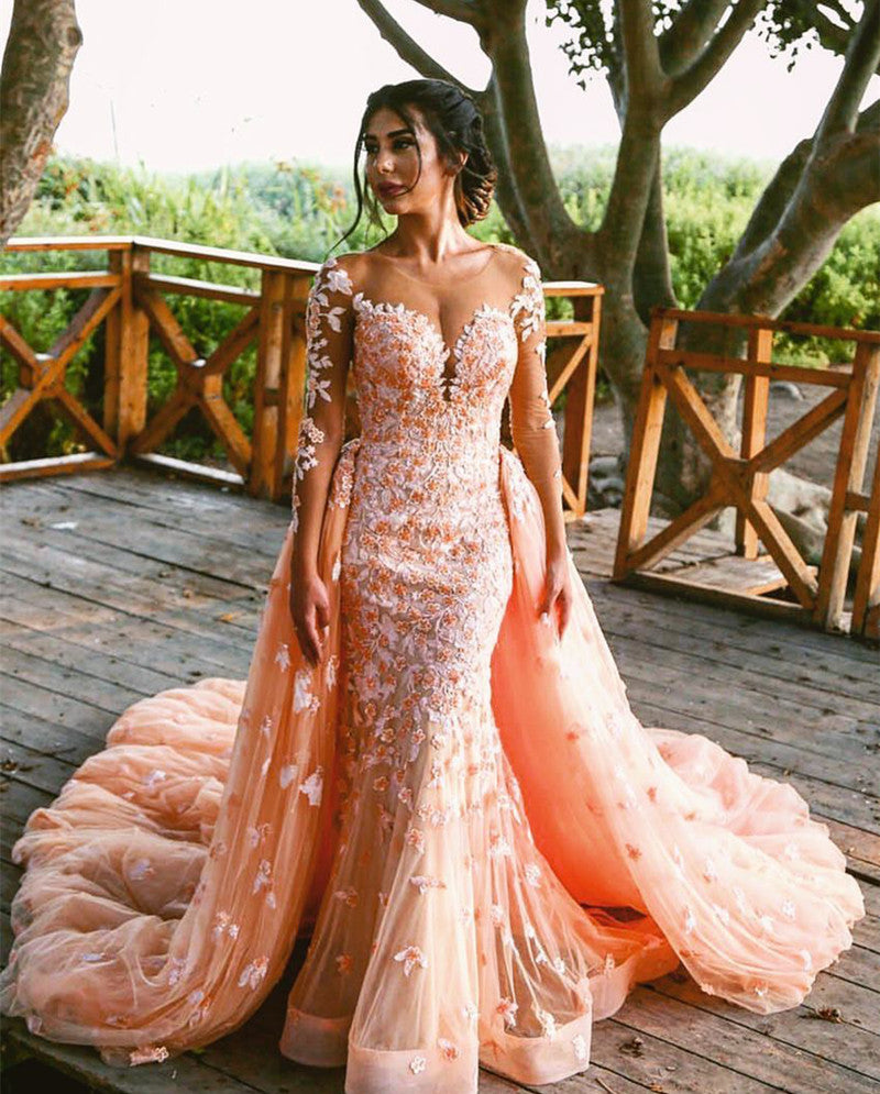 Peach Lace Long Sleeves Mermaid Prom Dresses Removable Skirt