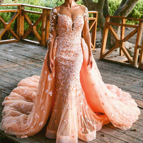 Image of Peach Lace Long Sleeves Mermaid Prom Dresses Removable Skirt