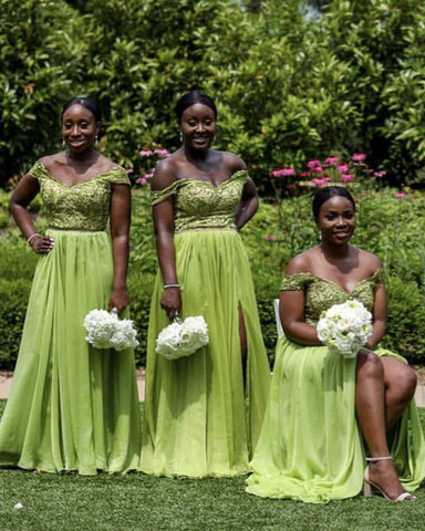 Slit Chiffon Dresses Bridesmaids