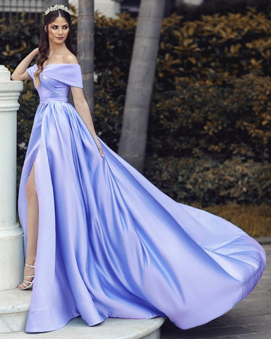 2020 Prom Dresses Leg Split Satin Off The Shoulder Alinanova