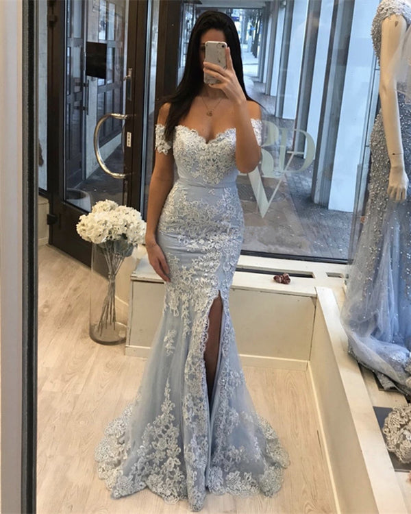 Light Blue Mermaid Prom Slit Dresses