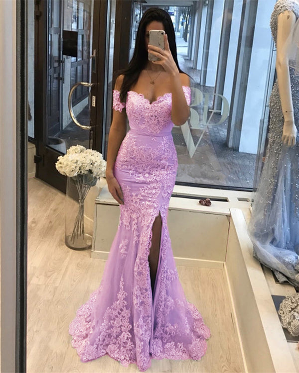 Lilac Mermaid Prom Slit Dresses
