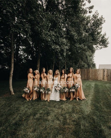 Image of Sexy Long Split Bridesmaid Dresses Plunge Neck