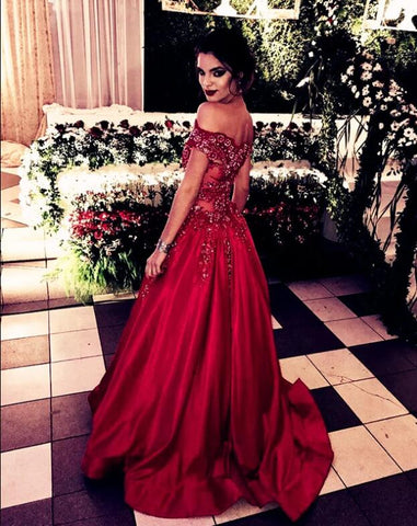 Image of Glamour Lace Beaded Prom Dresses Satin Off The Shoulder