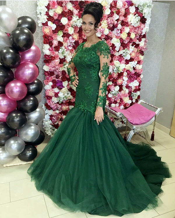 Long Sleeves Mermaid Wedding Dress Green