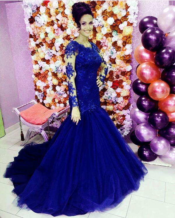 Royal Blue Mermaid Wedding Dresses Long Sleeves