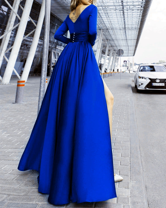 45da28ecad5c 2019 Prom Dresses Long Sleeves Chiffon Evening Gowns With Slit – alinanova